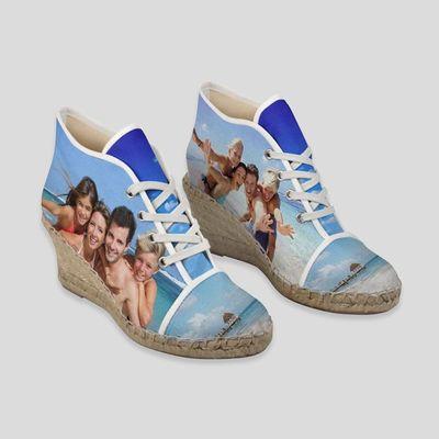 坡跟藤底编织帆布鞋