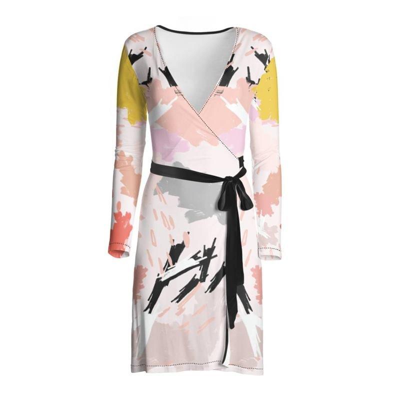 long sleeve custom wrap dress