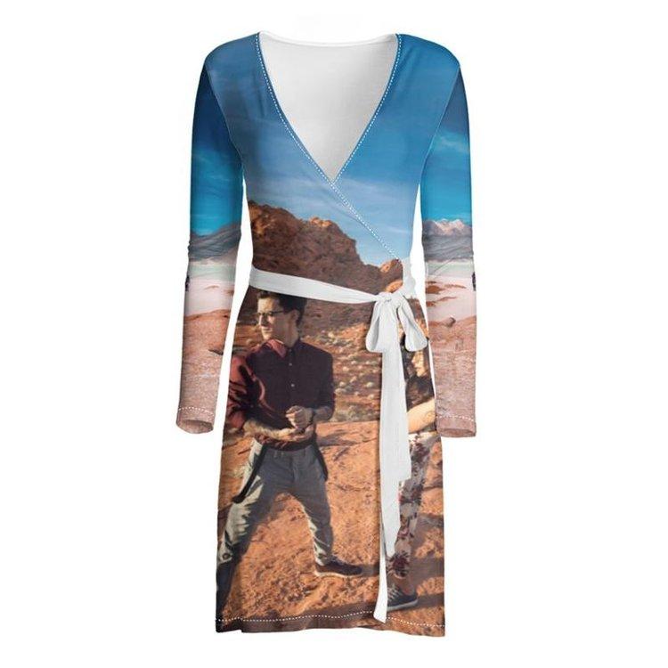 photo wrap dress