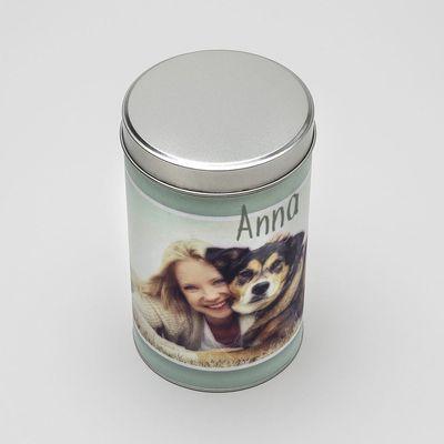 personalised name cylinder tin
