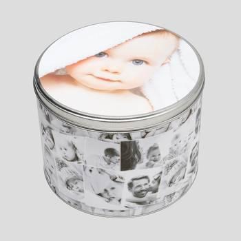 Scatola rotonda di latta personalizzata