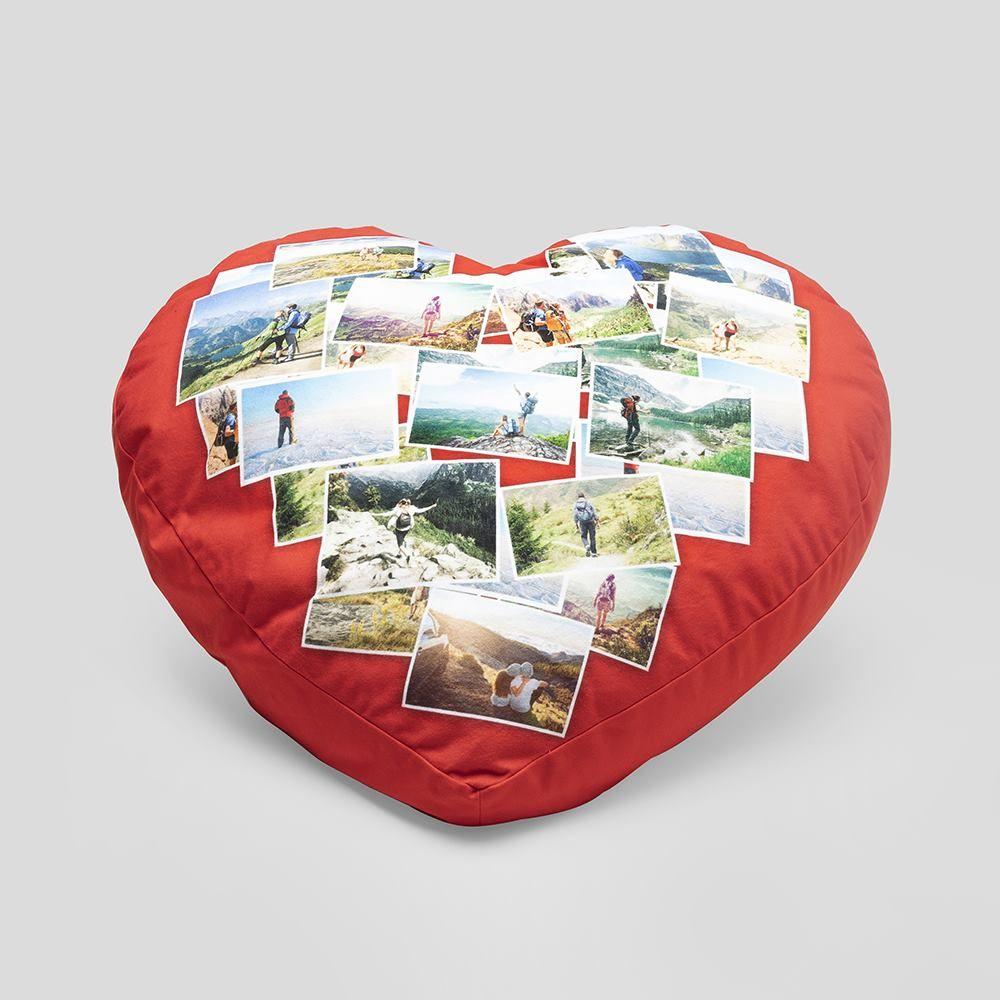 printed big heart pillow