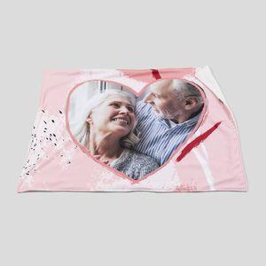 personalised photo heart blanket