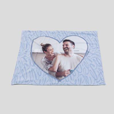 blue flame personalised heart blanket