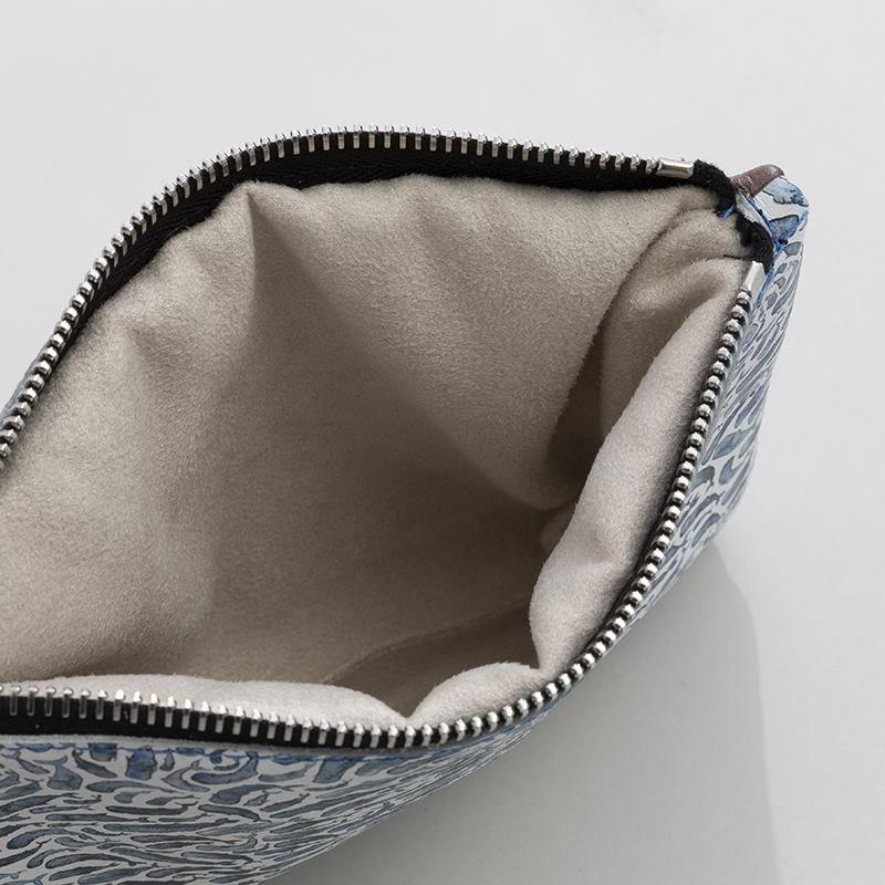 custom leather clutch detail
