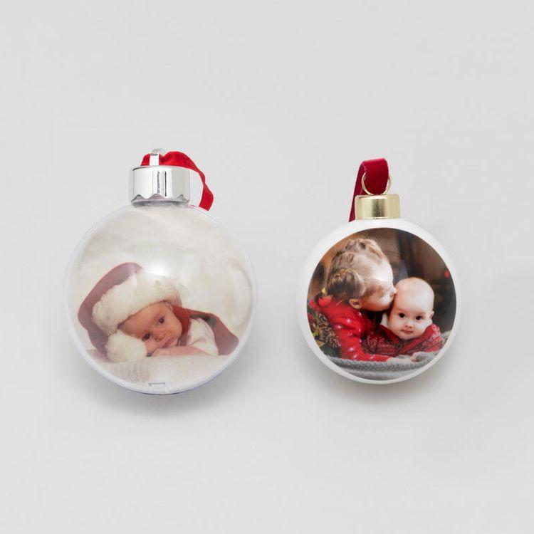 twee soorten gepersonaliseerd kerstballen