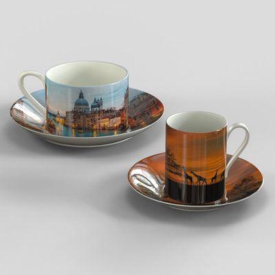 juego taza plato personalizado con fotos porcelana