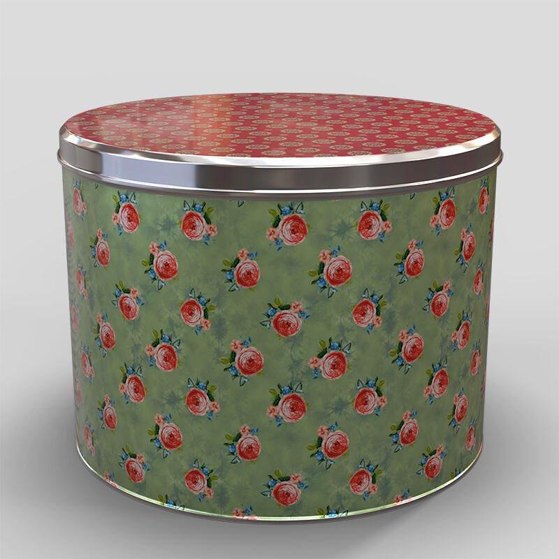Boîte ronde personnalisée avec un motif floral