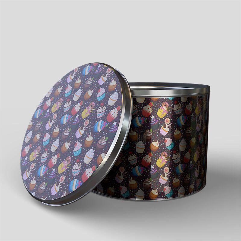 Boîte en métal ronde avec design