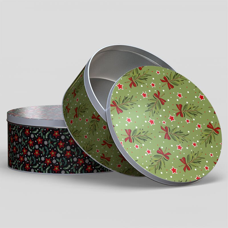 Boîte en métal ronde avec couvercle amovible