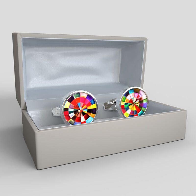 Bedruckte Manschettenknöpfe in Geschenkbox