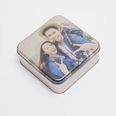 caja cuadrada personalizada foto metal