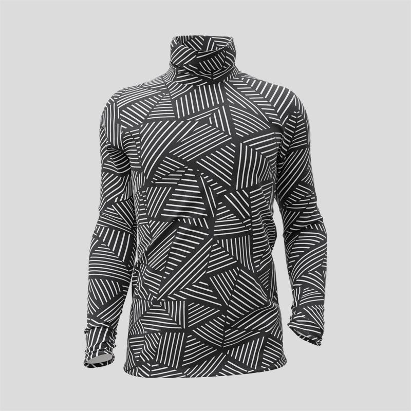 Design géométrique sur le T-shirt personnalisé à col roulé et manches longues