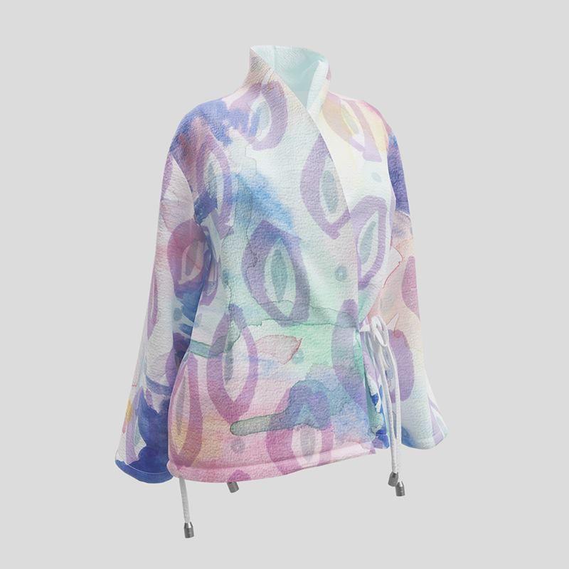 giacca con collo a scialle e stampa personalizzata