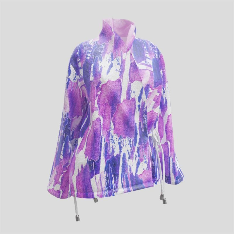 printed wrap blazer