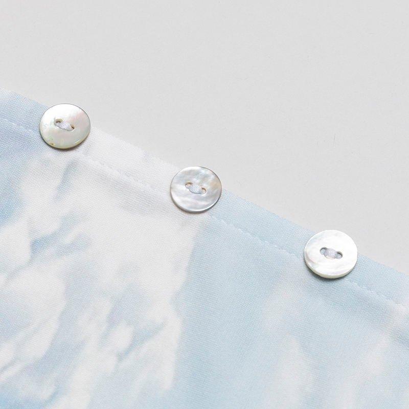 custom printed button dress detail