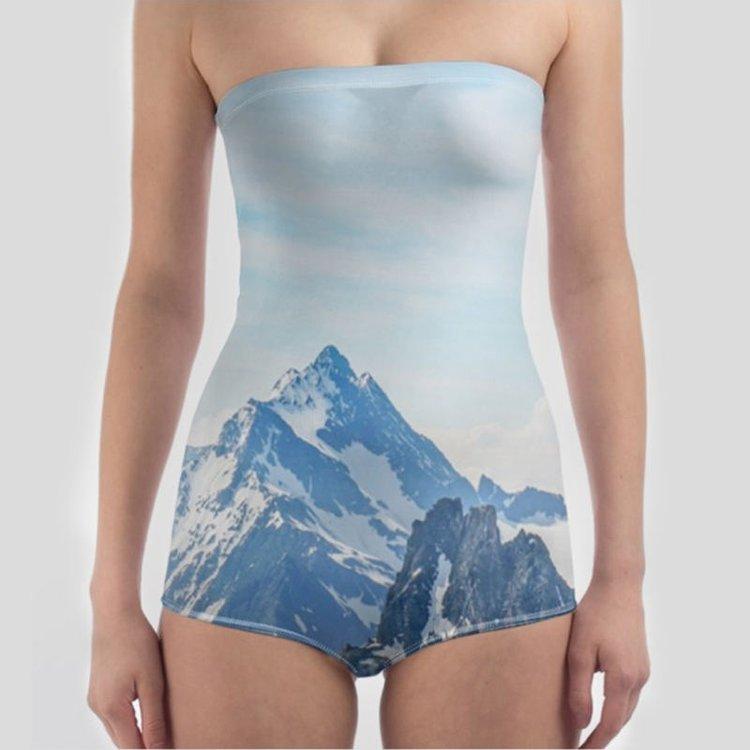 landscape custom strapless swimsuit