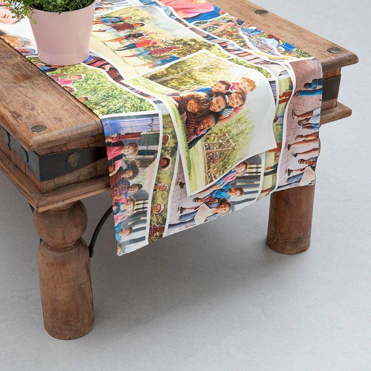collage custom table runner