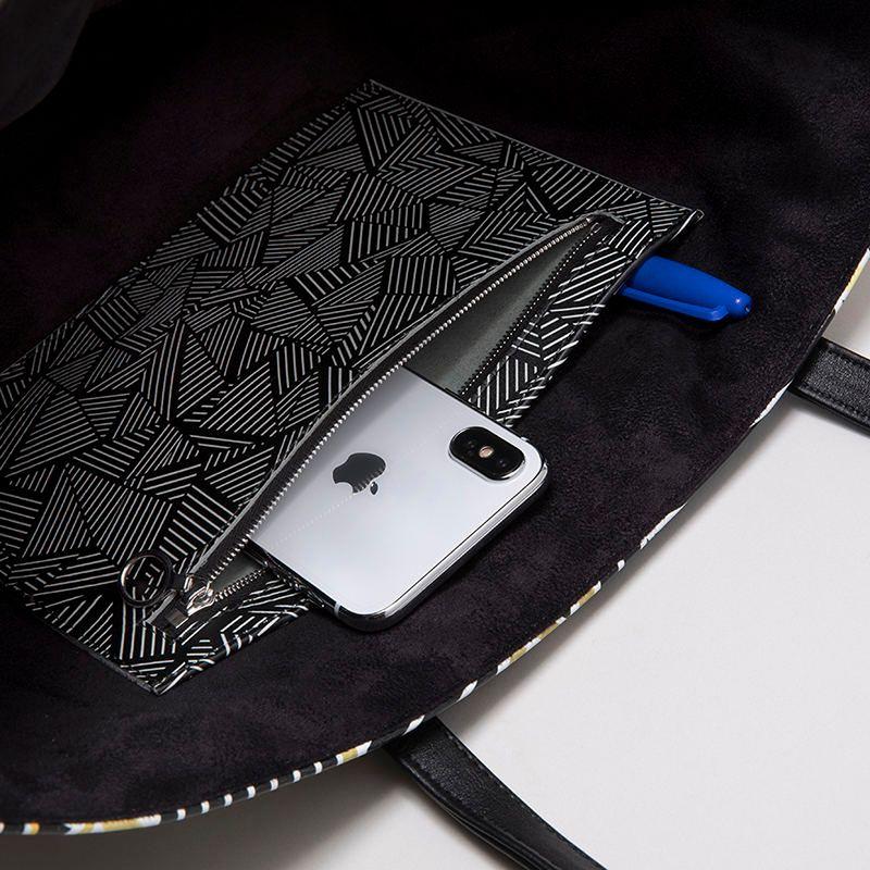 custom leather totes pocket