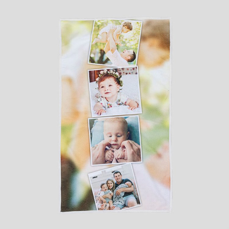 Serviette pour bébé avec montage photos