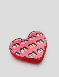 face on heart cushion