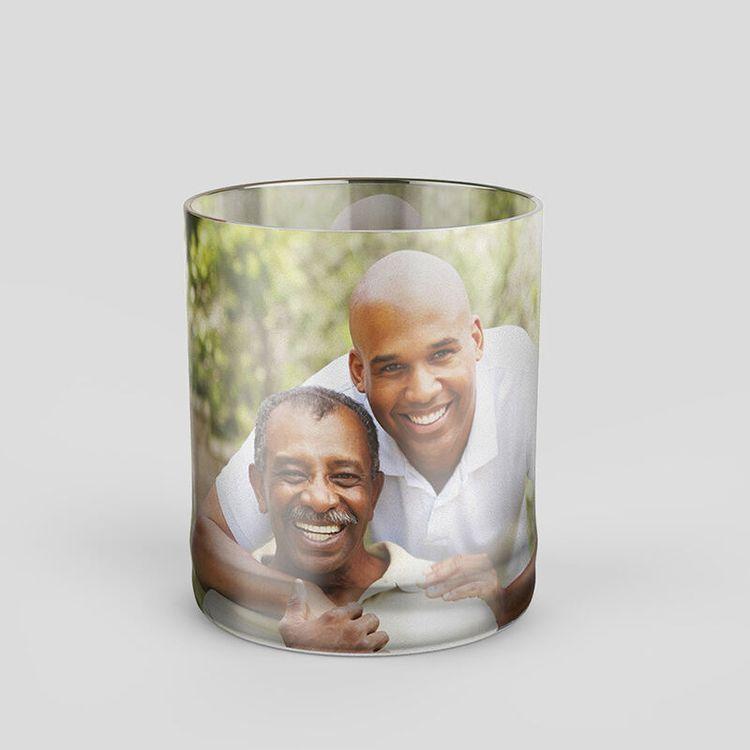 personligt whiskeyglas med foto