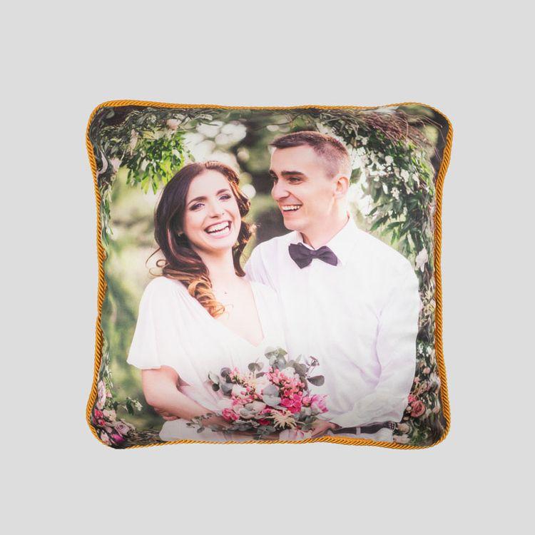 Coussin en soie personnalisé avec photo mariage