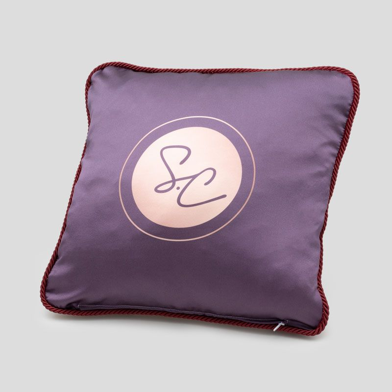 silk cushions with logo