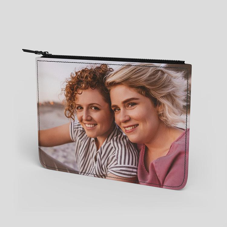 sac pochette en cuir personnalisé avec photo