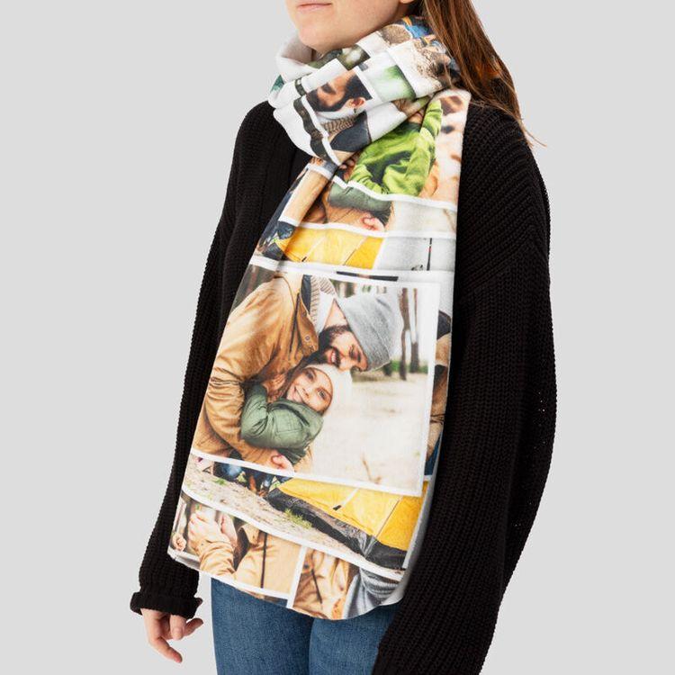 écharpe plaid personnalisée avec photo
