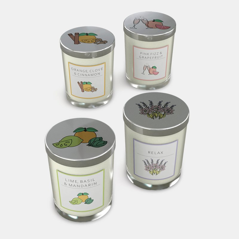bedrukte glazen kaarsen in 4 geuren