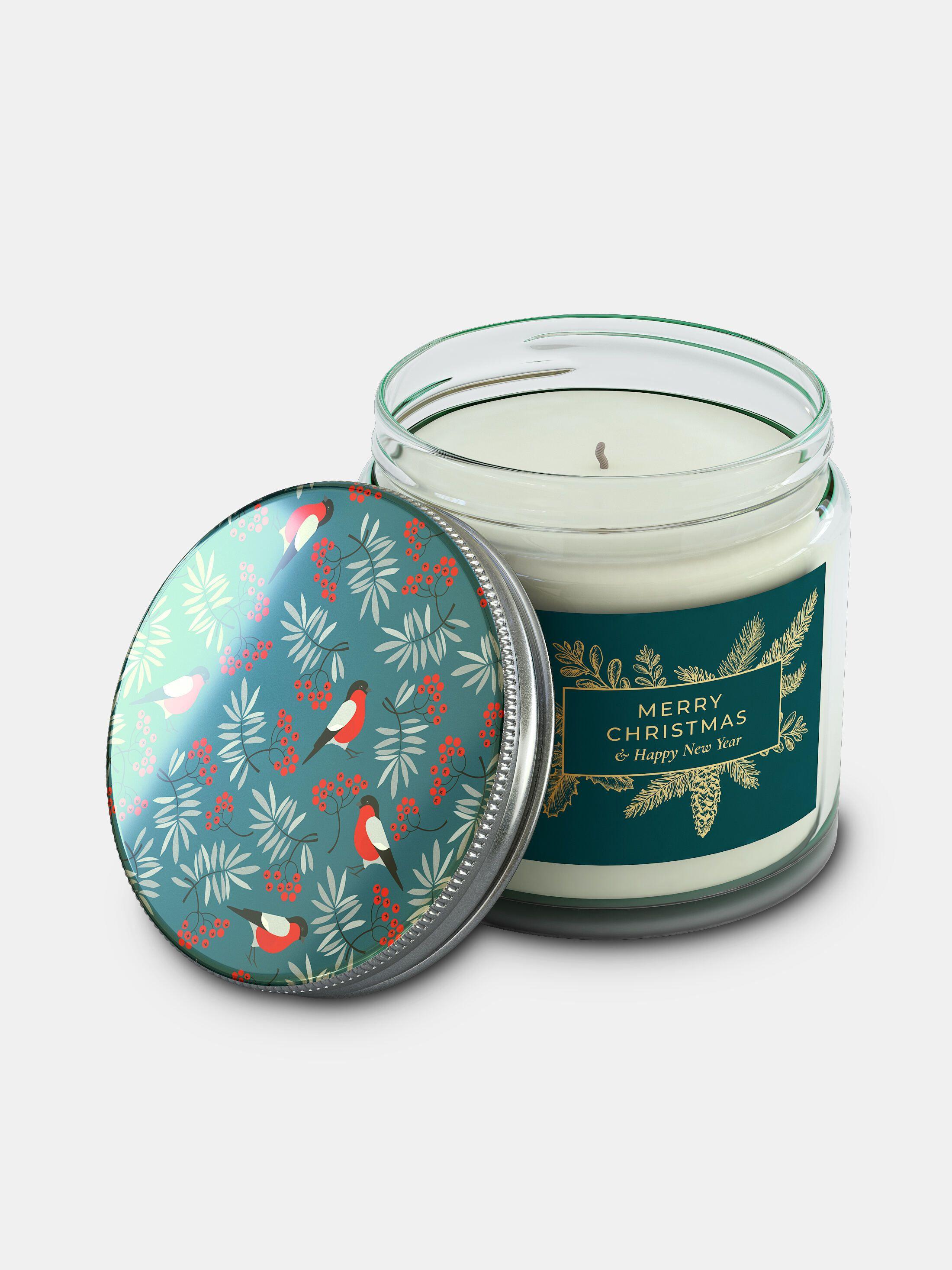 candela in barattolo e coperchio personalizzati