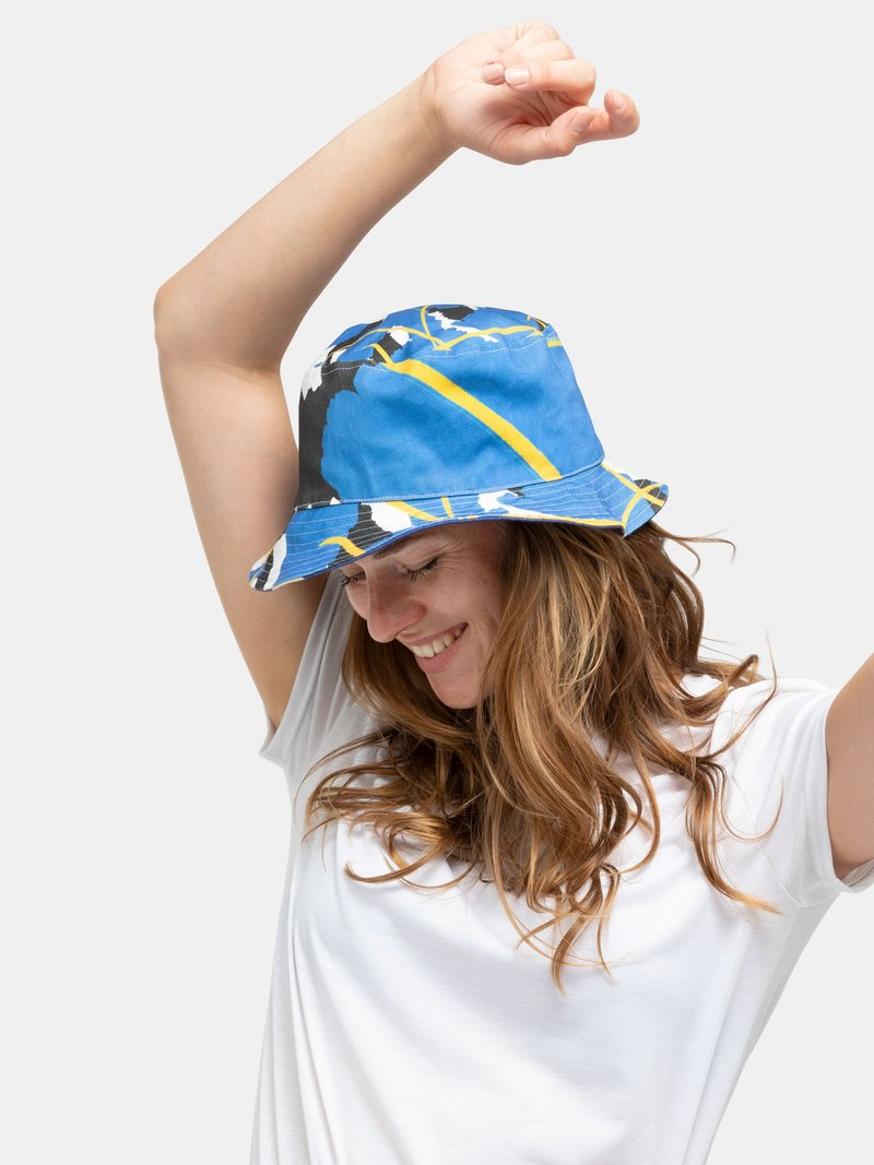 close up custom bucket hat
