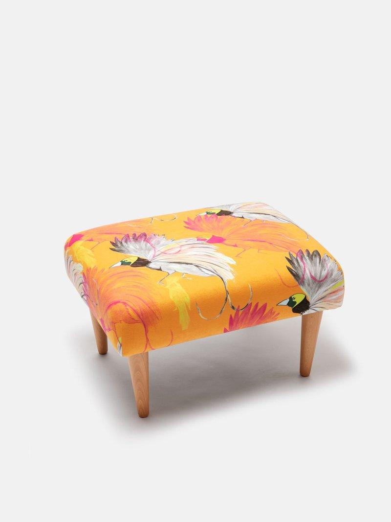 custom footstool with bird and flower design