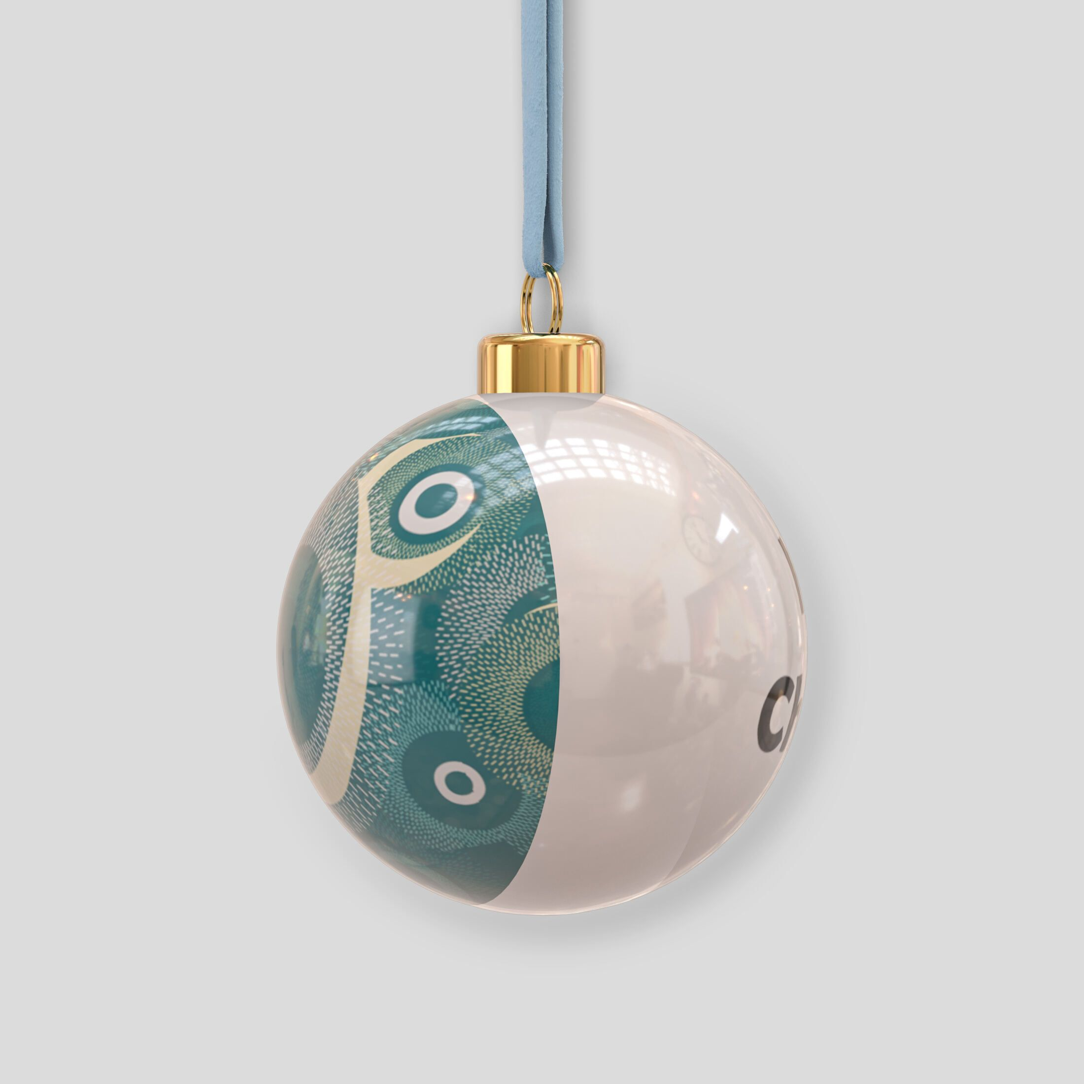gepersonaliseerde kerstbal van porselein