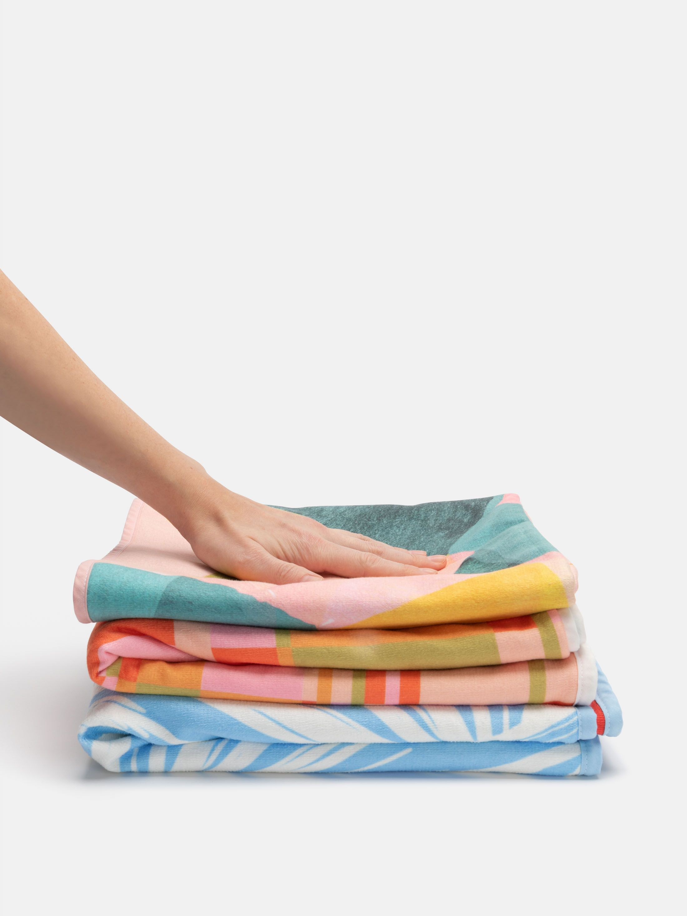 bathroom towel pile
