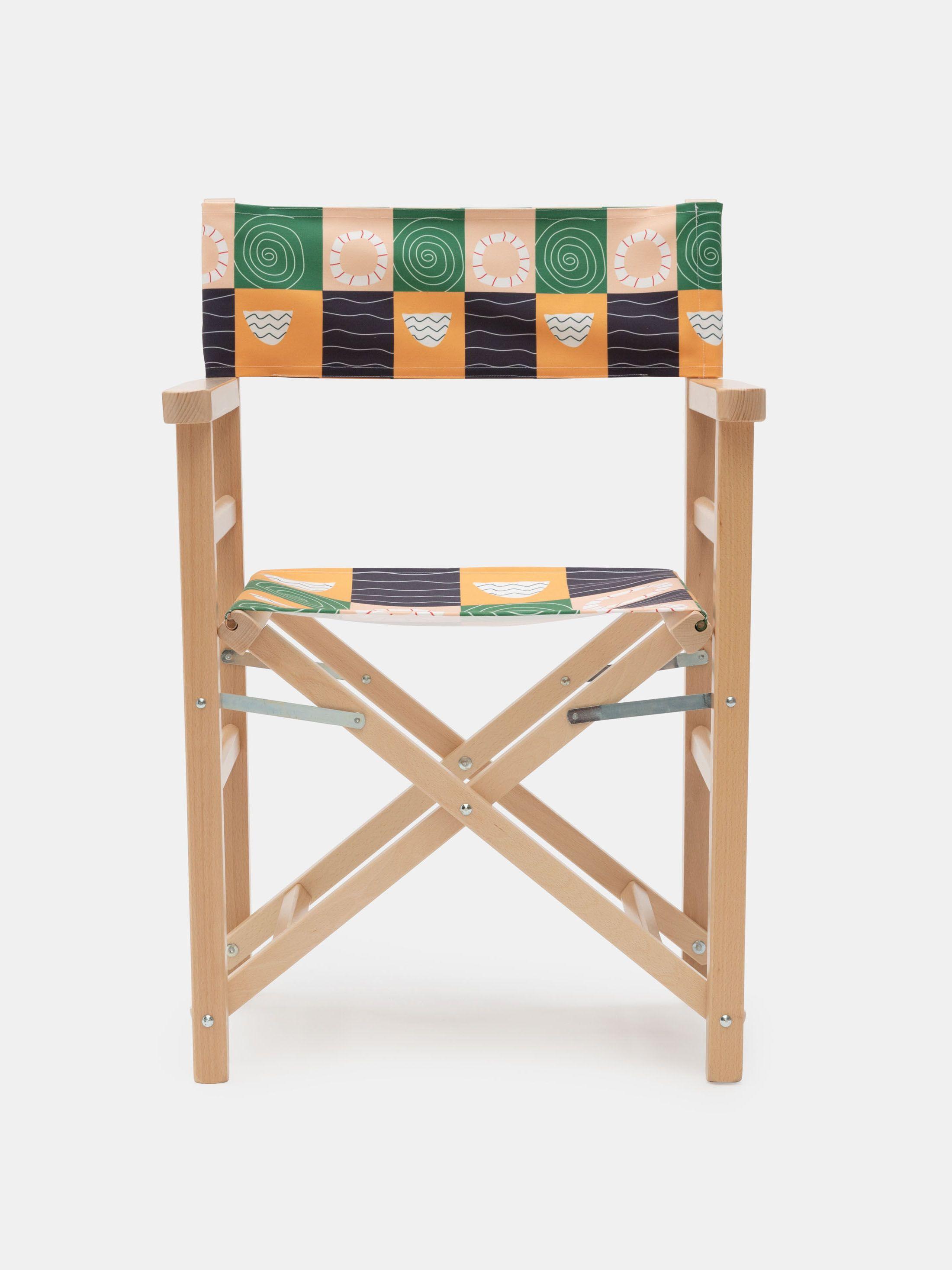 Zoom sur le bois du fauteuil de réalisateur personnalisé