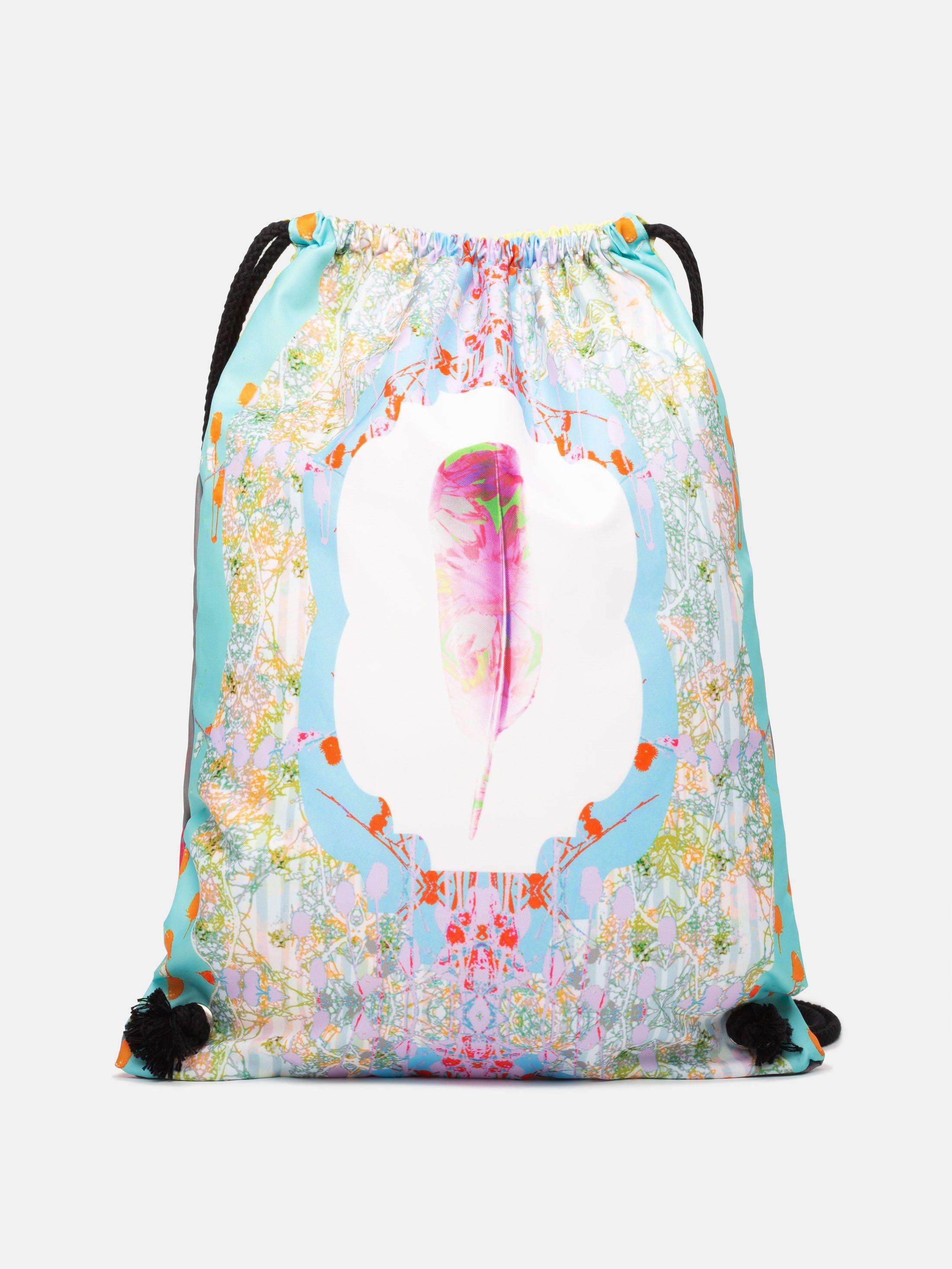 custom drawstring bags printed with pink floral design