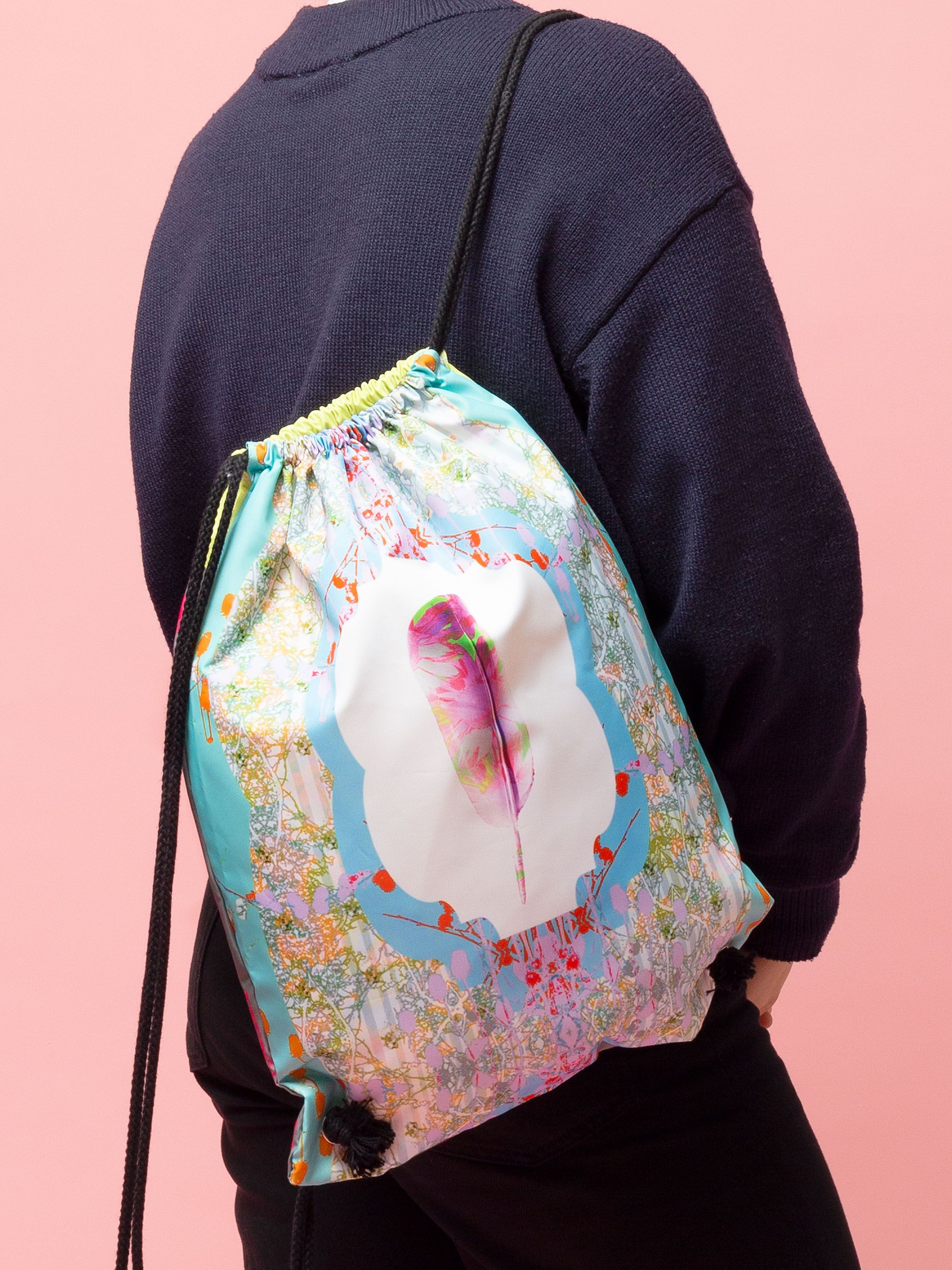 custom drawstring backpack with original illustration