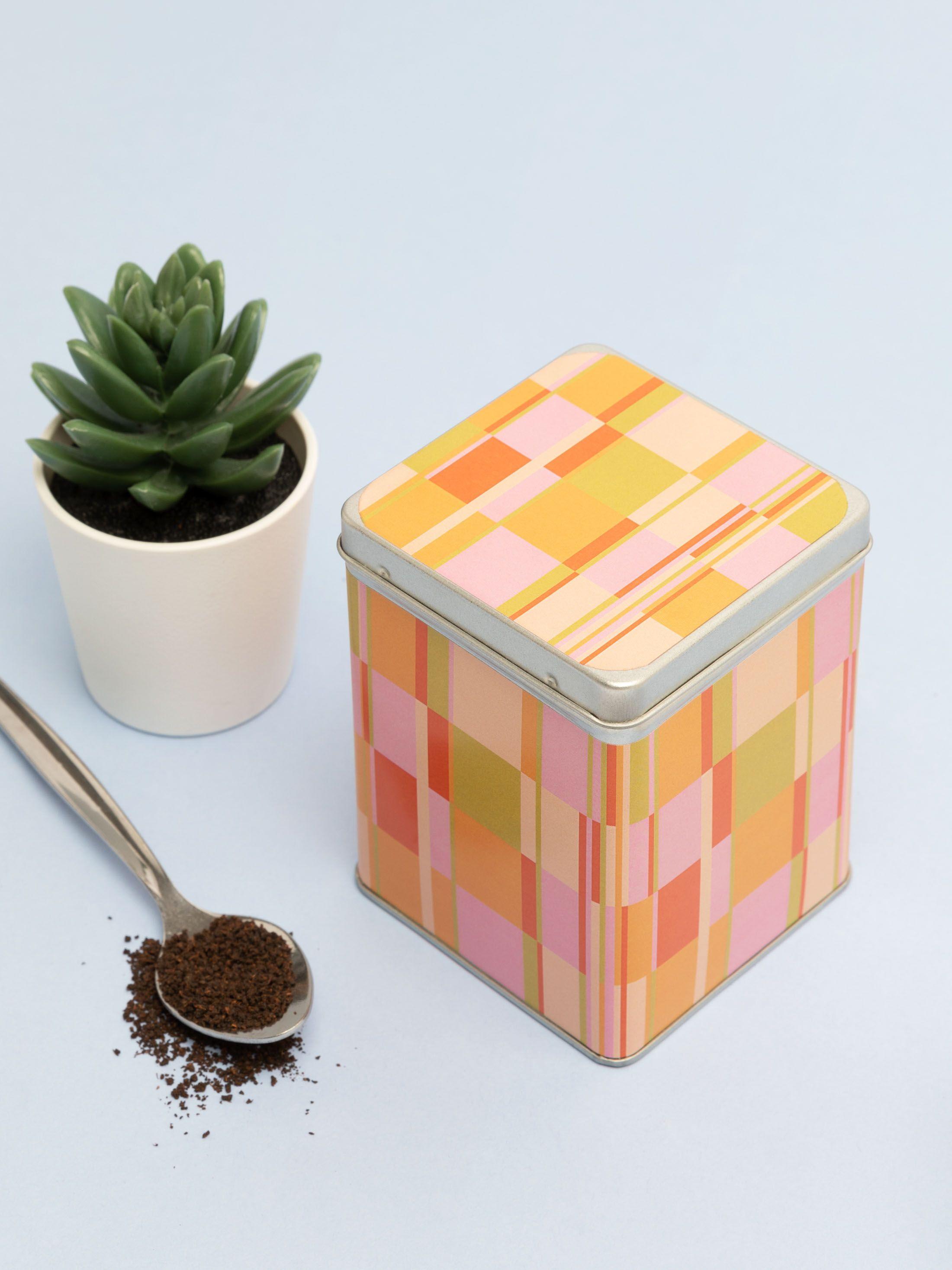 tea caddy tin tartan print