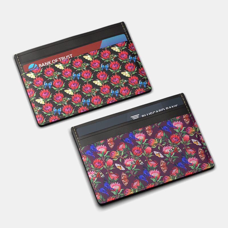 Porte-carte en cuir avec design floral