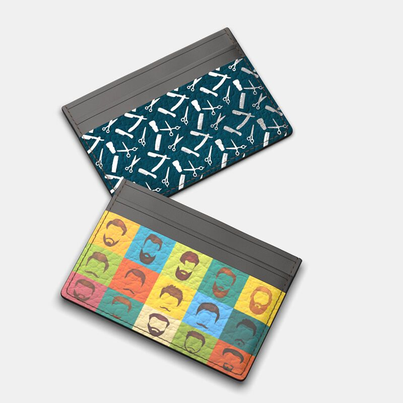 close up of custom card holder stitching details