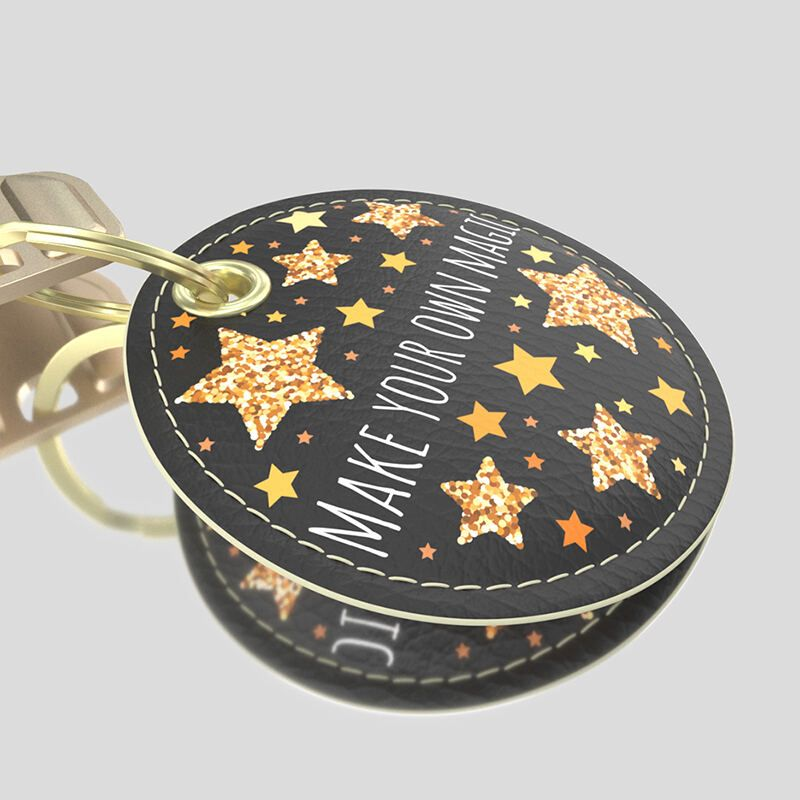 custom printed luxury leather keychain