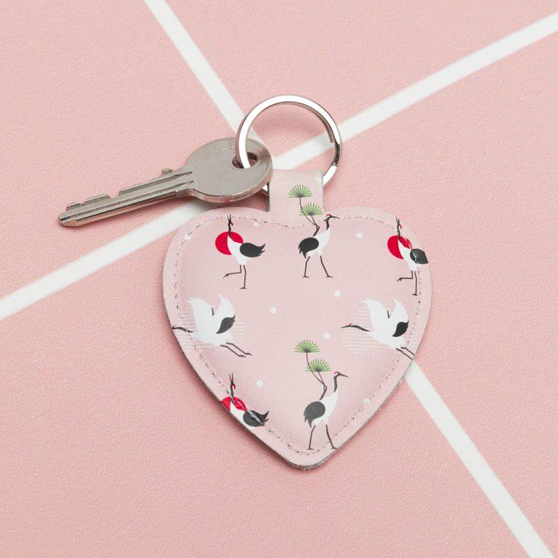 custom leather heart keyring