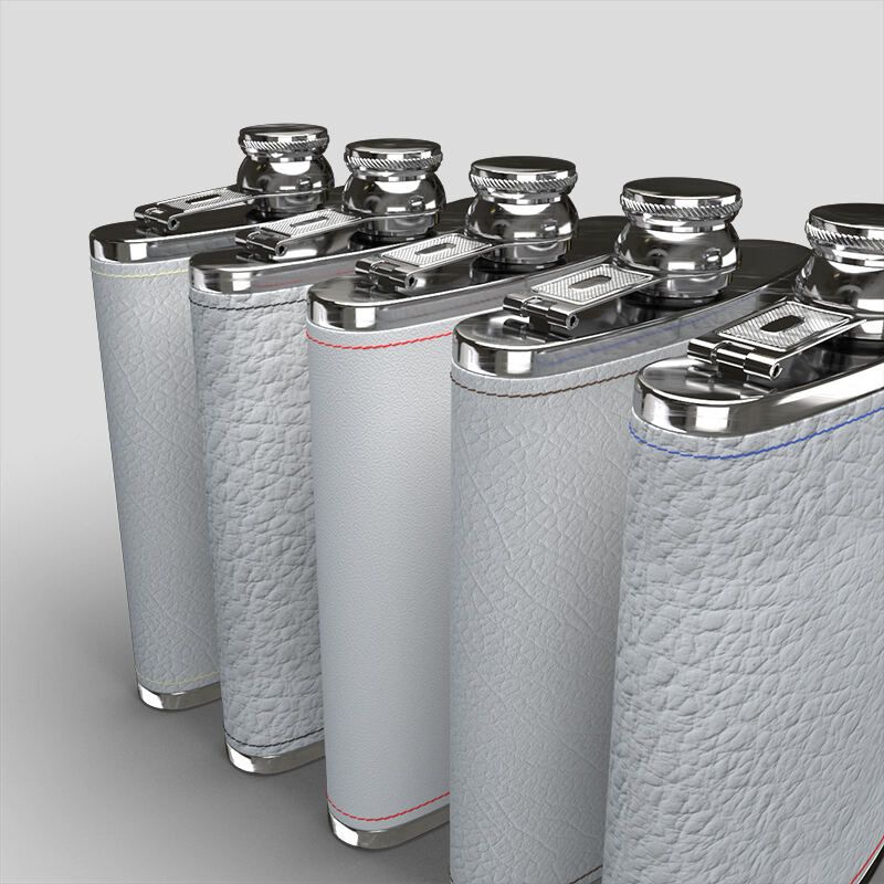 leather custom hip flask