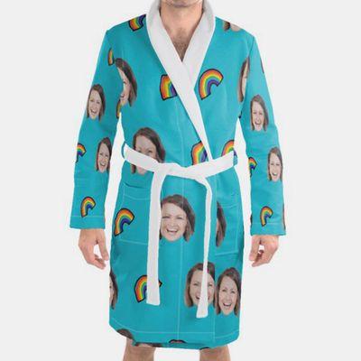badjas met gezicht bedrukt