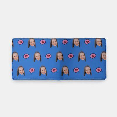 portefeuille avec visages imprimés