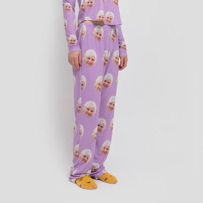 dames pyjamabroek met gezichten
