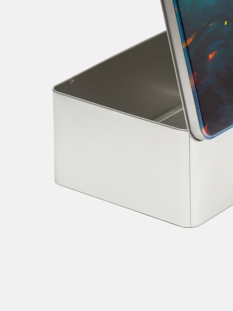 metal storage tin open