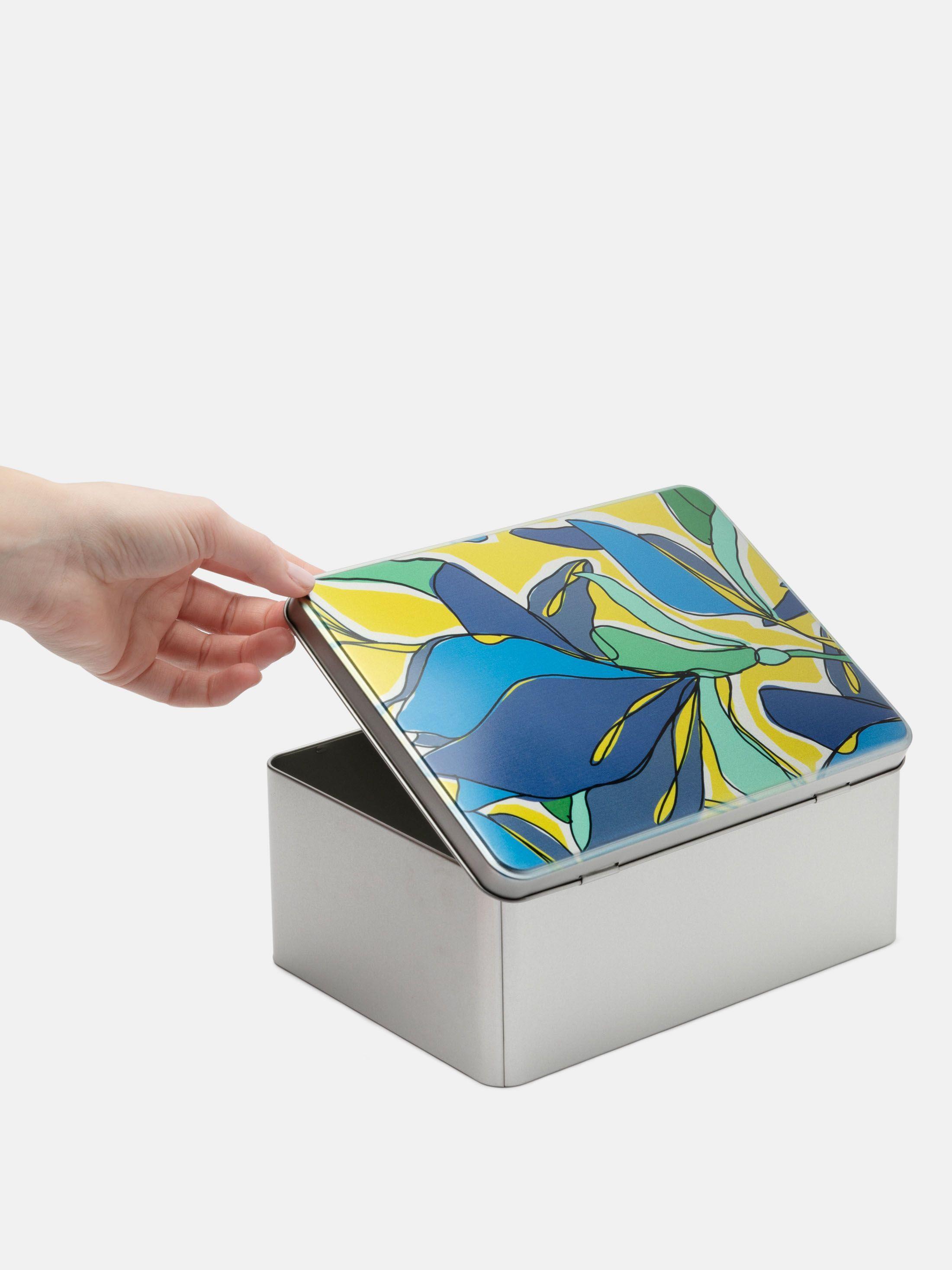 custom metal tin with printed lid